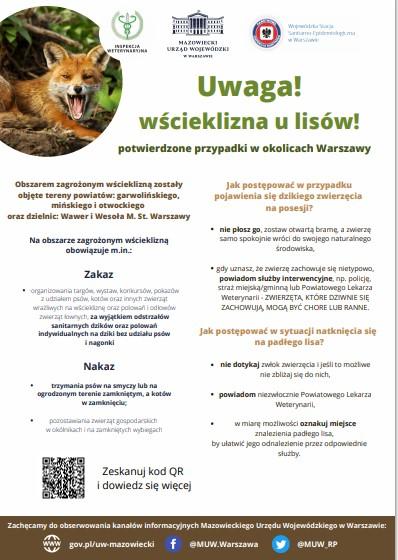Plakat informujący o wściekliźnie wśród lisów